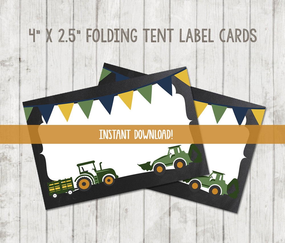 printable tractor food tent labels happy barn