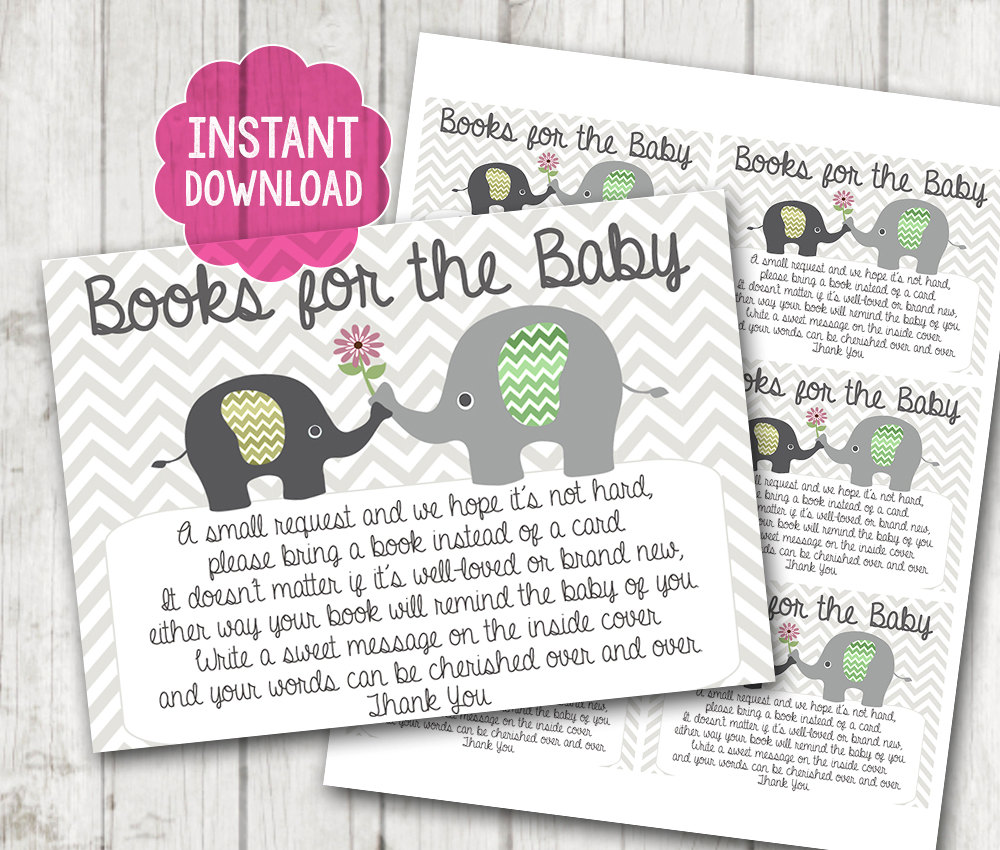 Beautiful Printable Gender Neutral Elephant Baby Shower Bring A Book Instead Of A Card  Invitation Inserts Chevron