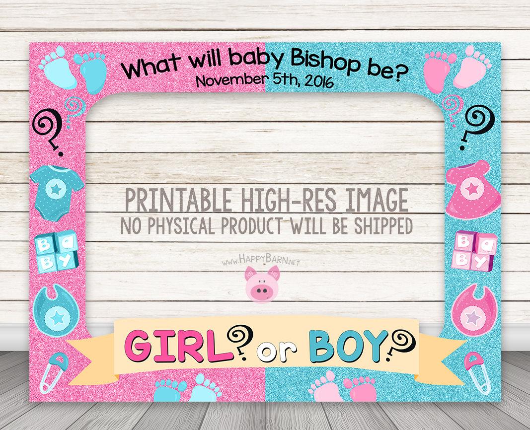 Printable Gender Reveal Photo Booth Frame