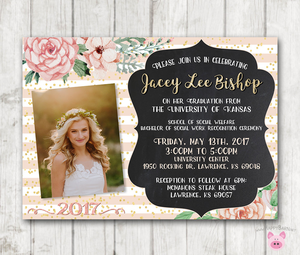 printable graduation invitations floral graduation invites