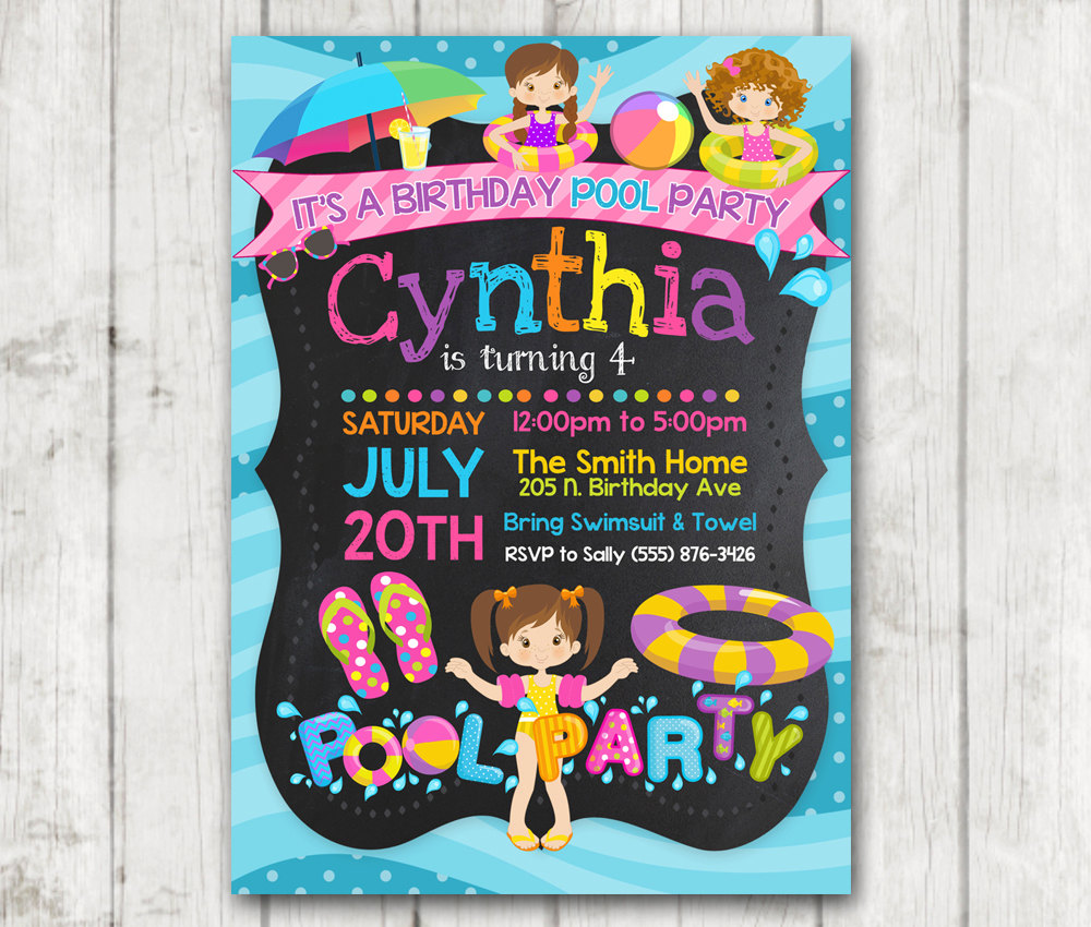 Printable POOL PARTY birthday invitations Girls Pool Party ...