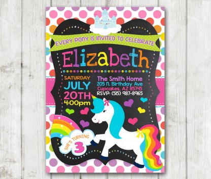 Printable unicorn little pony birthday party invitations custom printable unicorn little pony birthday party invitations custom magical bday invites horse rainbow hearts pony birthday filmwisefo