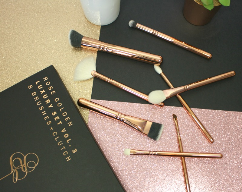 rose golden set brushes