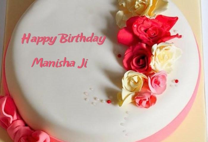 Roses Happy Birthday Cake For Manisha Ji