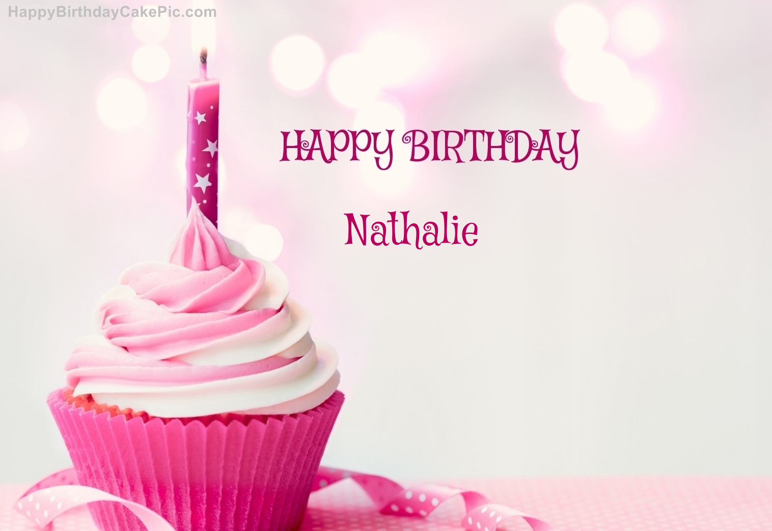 Happy Birthday Cupcake Candle Pink Cake For Nathalie