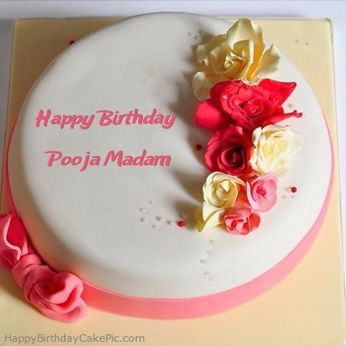 Roses Happy Birthday Cake For Pooja Madam