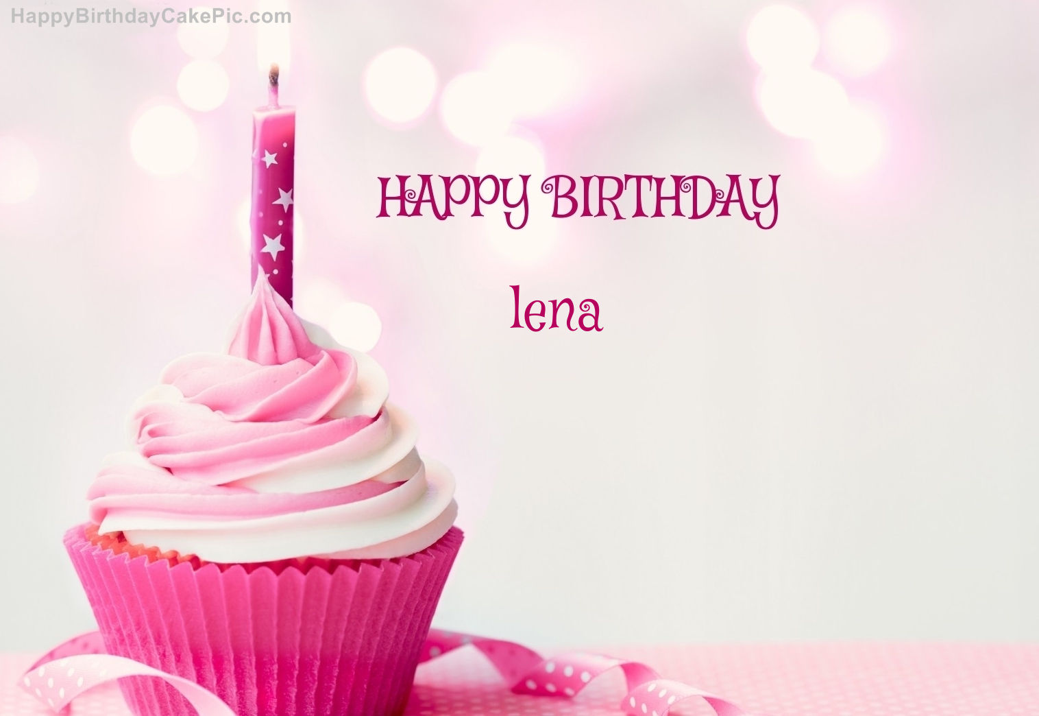 ️ Happy Birthday Cupcake Candle Pink Cake For Lena