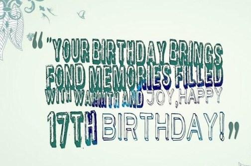 Happy 17th Birthday Wishes - Happy Birthday Lines