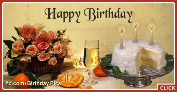 Old Style Flowers Cake Happy Birthday Card Happy