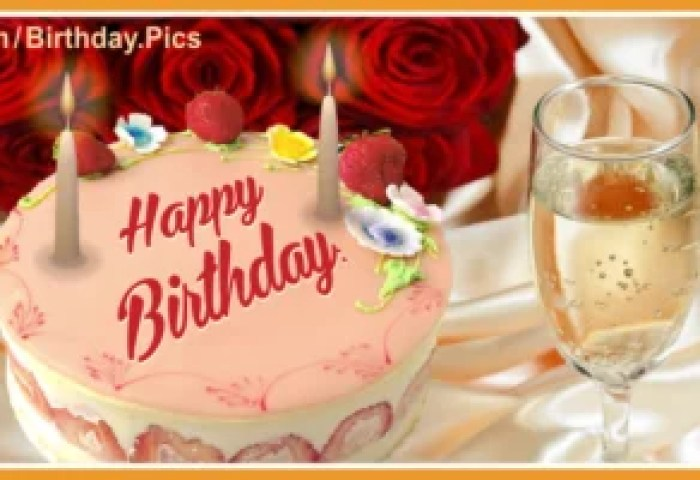 Roses Champagne Cake Happy Birthday Card Happy Birthday Videos And