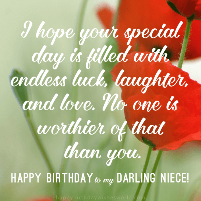 I hope your special day is filled with endless luck, laughter, and love. No one is worthier of that than you. Happy birthday to my darling niece!