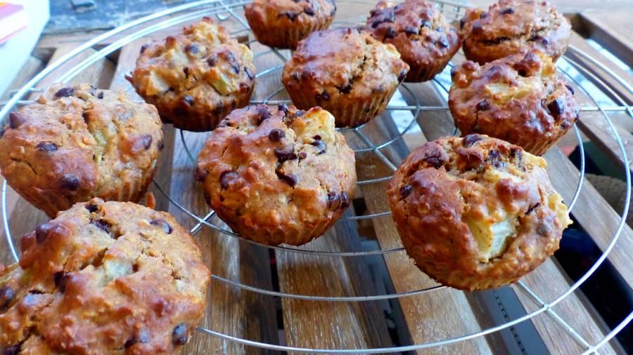 Muffins poire chocolat - sans gluten et sans œufs