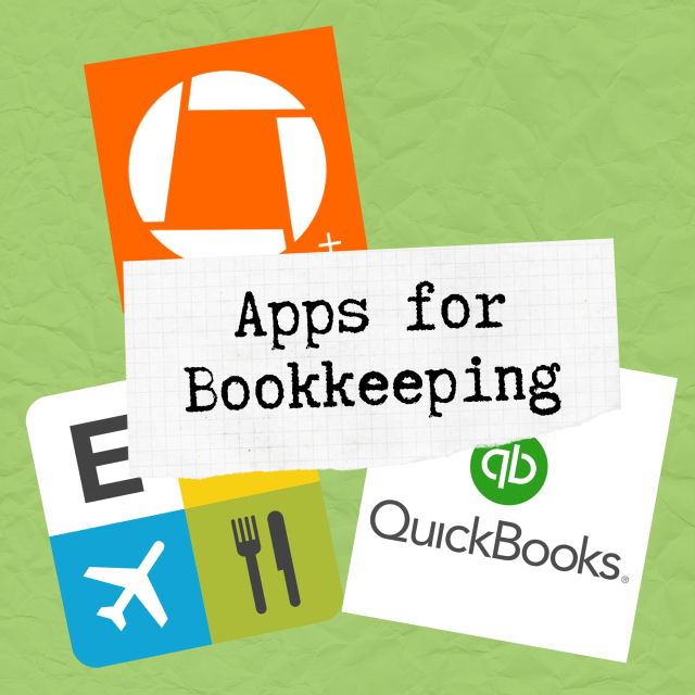 Apps for bookkeeping image. Contains logos for Quickbooks, Expensify and Genius Scan.