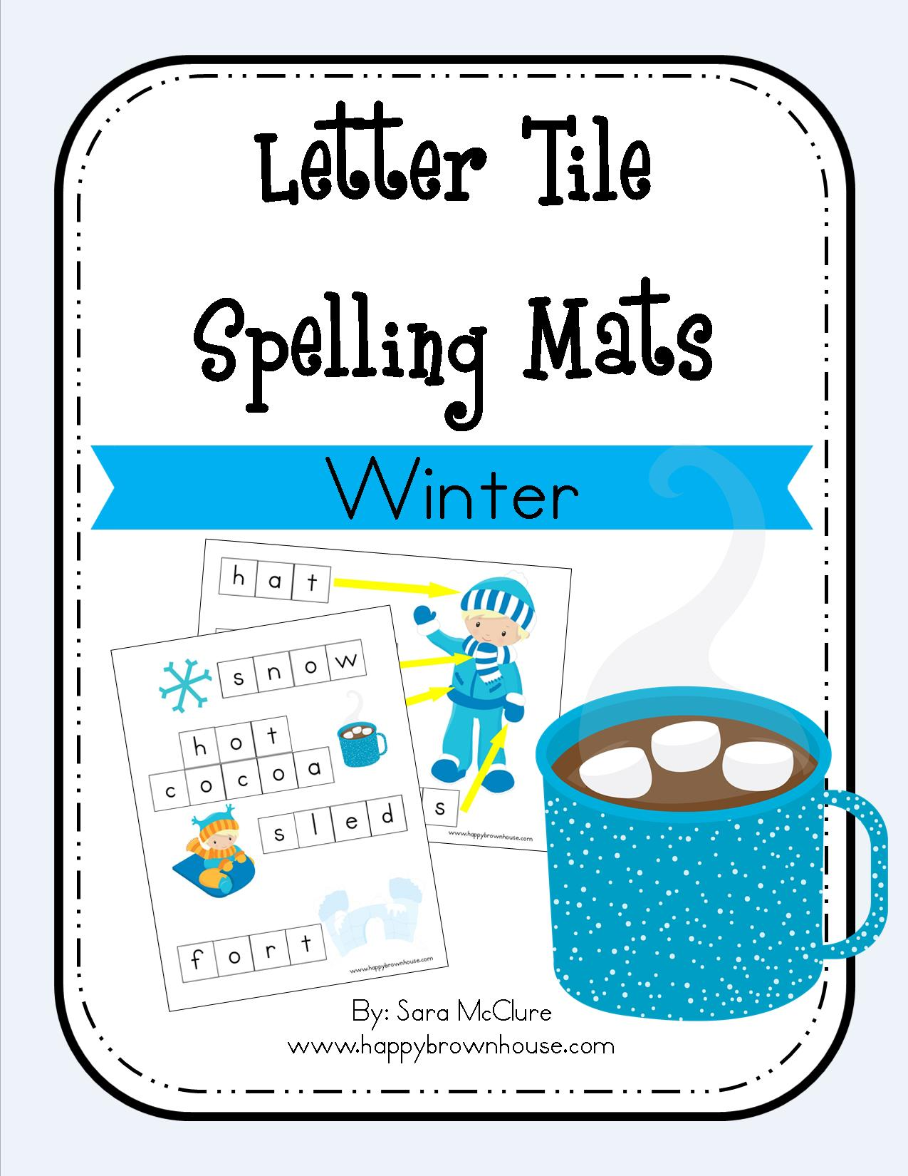 Winter Letter Tile Spelling Mat Free Printable