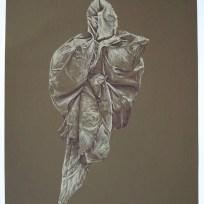 """Figure Two, colored ink on brown paper, 18x24,"""" 2013"""