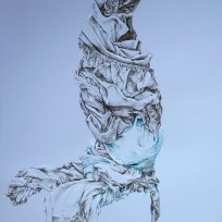 """Figure One, colored ink on grey paper, 20x28,"""" 2013"""