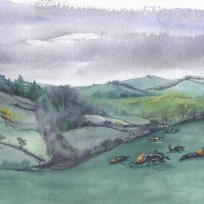 Grazing on the Hills of Ballyvoy. Watercolor on paper. 2017