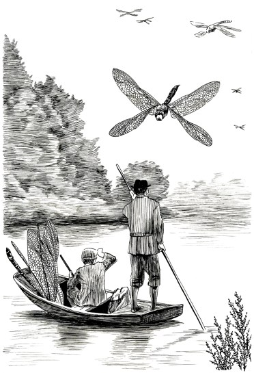 Dragonfly Hunt. Illustration from An Illustrated History of Domestic Arthropods. Ink on paper. 2017
