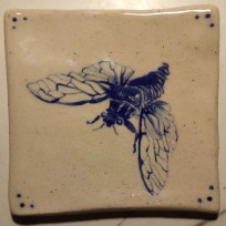 Cicada. Underglaze on stoneware. 2018