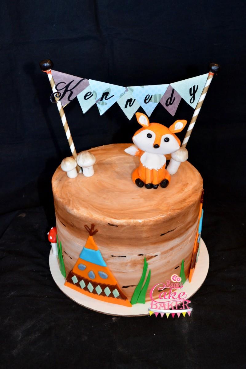 Brown Green White Wedding Cake
