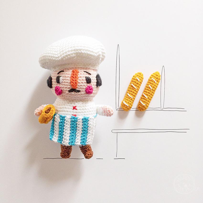 Amigurumi boulanger et baguette et chocolatine au crochet