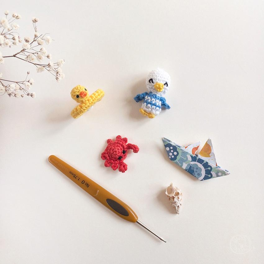 Amigurumis Miniatures Animaux marins au Crochet sur la plage