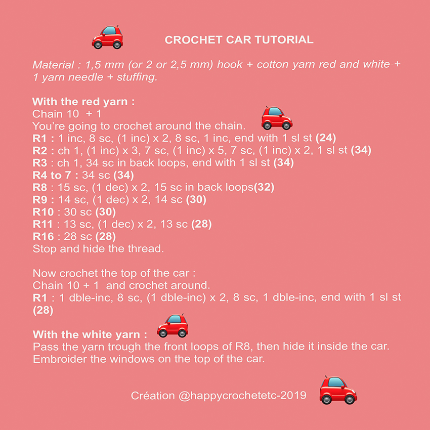 Tiny Crochet Car Tutorial