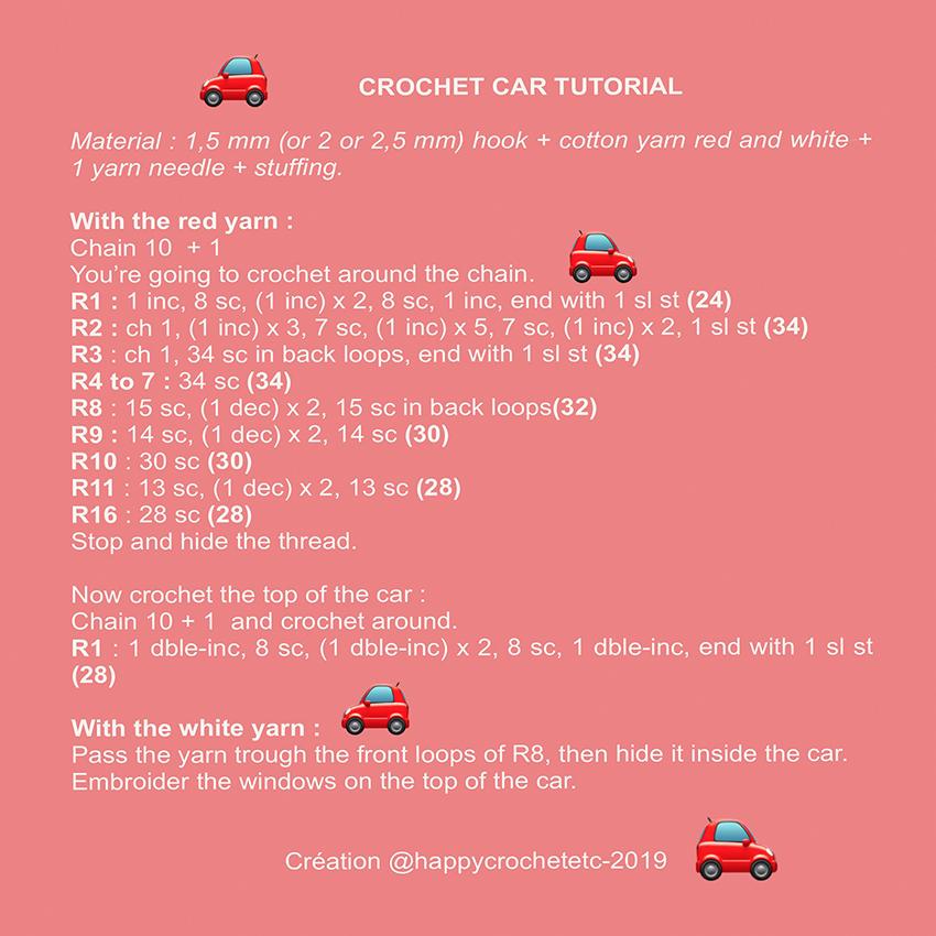 Tiny Crochet Car Tutorial
