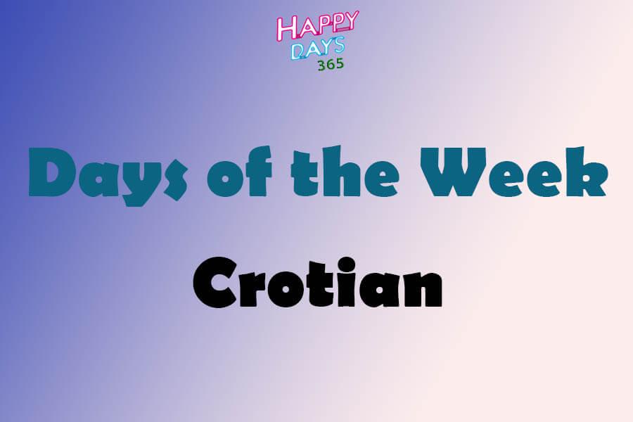 Days of the Week in Croatian Language