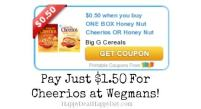 Honey Nut Cheerios for $1.50 at Wegmans with NEW $0.50/1 Coupon!