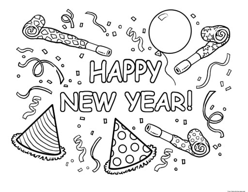 New Year Coloring Pages Pic