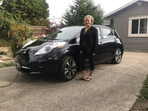 Christine and her 2016 Nissan Leaf - DailyCreatives.com