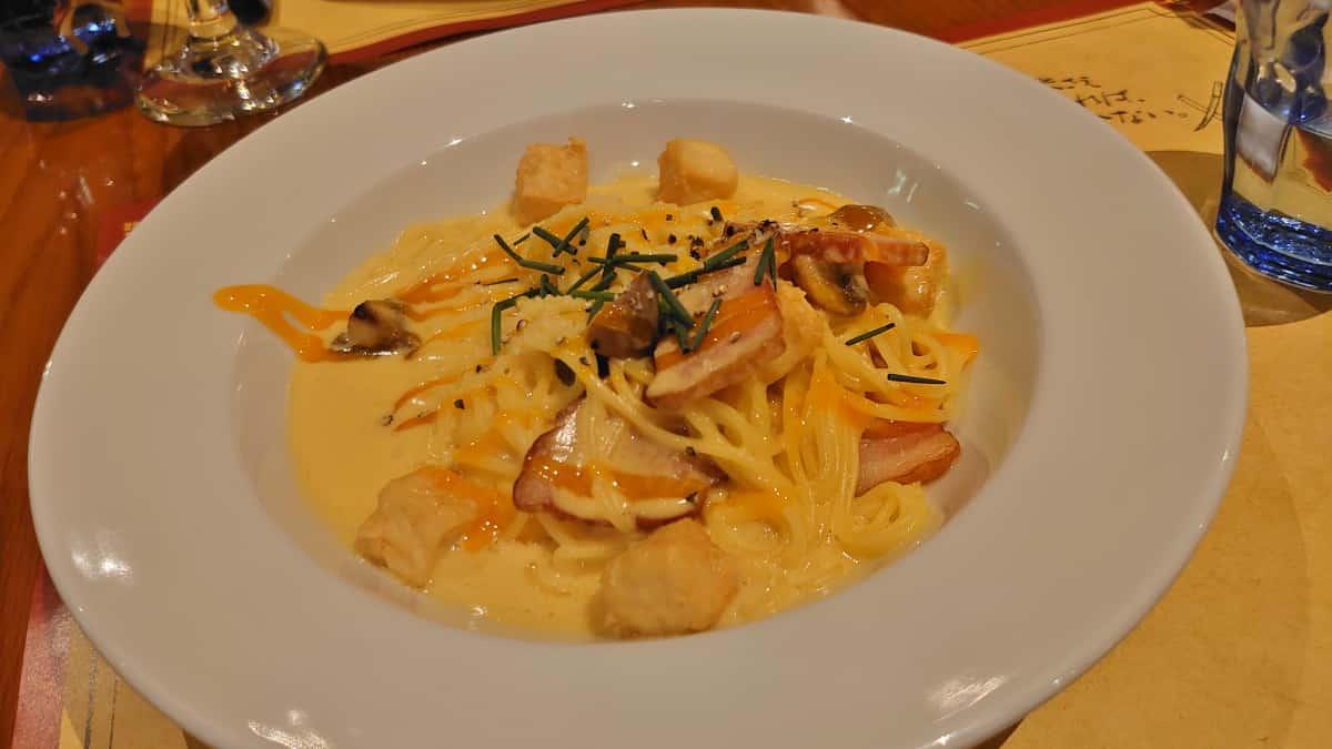 白みそと豆腐のカルボナーラ・スパゲティ