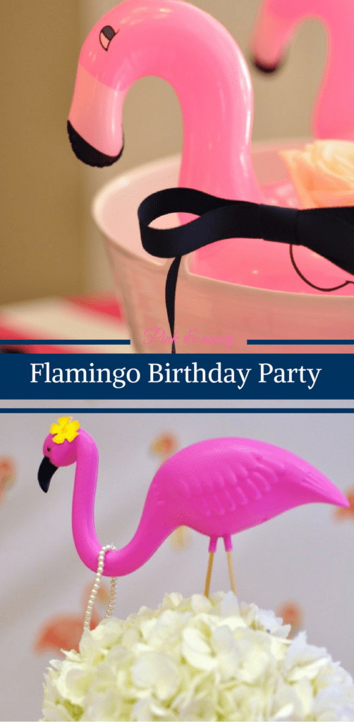 Pink and Navy Flamingo Birthday Party by Happy Family Blog