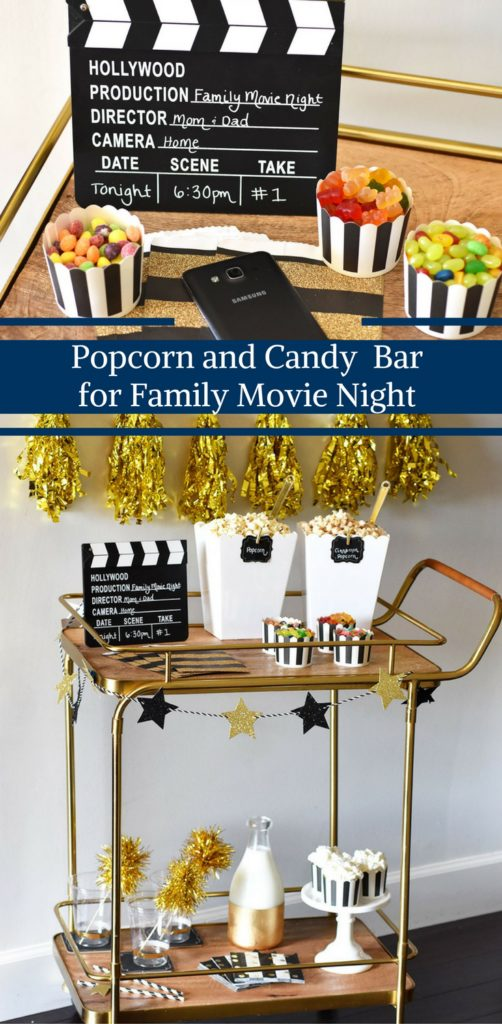 Popcorn and Candy Bar for Family Movie Night by Happy Family blog