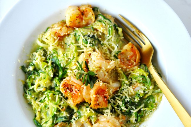 Low Carb Shrimp Zoodle Alfredo in One Pot by Happy Family Blog