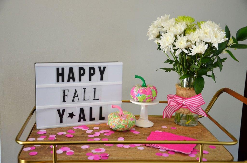 Fall Bar Car, Lilly Pulitzer Fall, Pink and green fall party