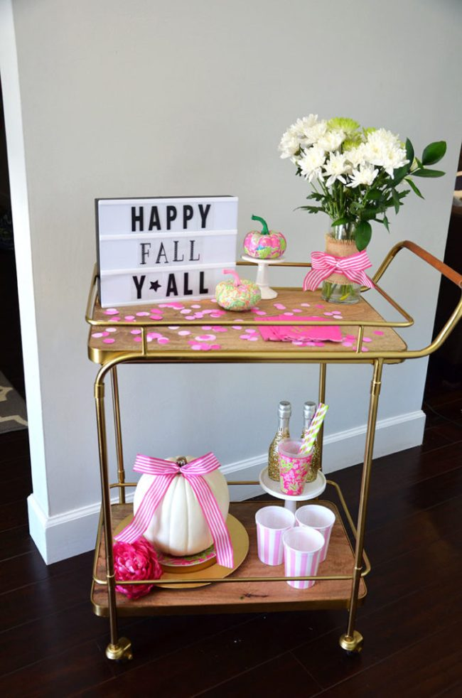 Fall Bar Car, Lilly Pulitzer Fall, Pink and green fall party
