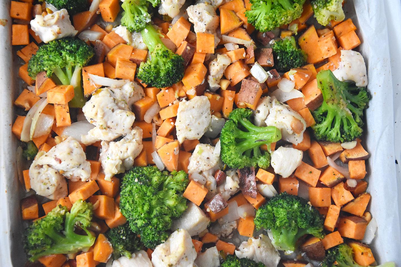 Chicken Broccoli And Sweet Potato Sheet Pan Dinner - Happy -3254