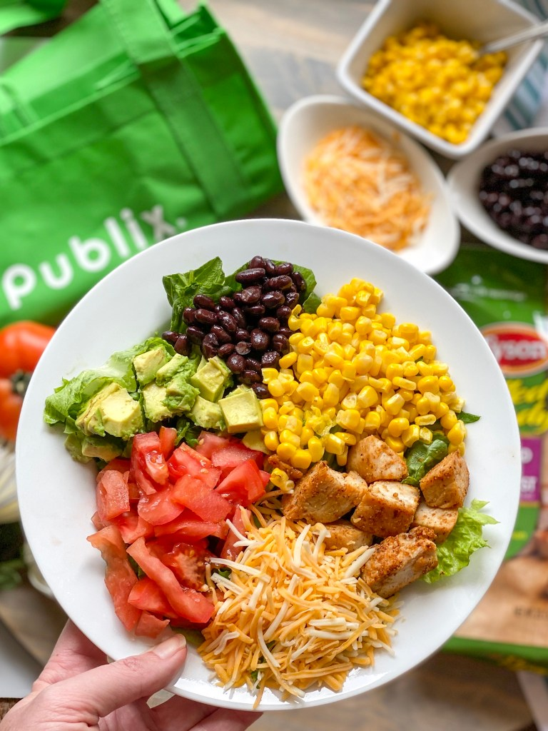 Learn tricks to have this ready in 15 minutes thanks to easy southwest salad ingredients like precooked chicken.