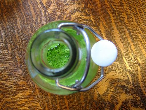 green smoothie bottle