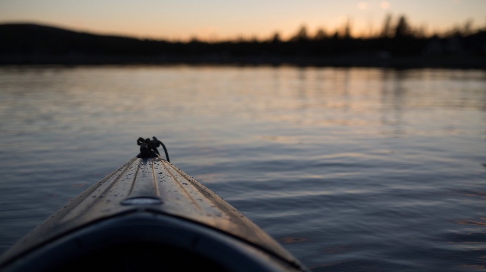 Happy-Fox-Fall-Colors-by-Canoe-canoe-and-evening-river
