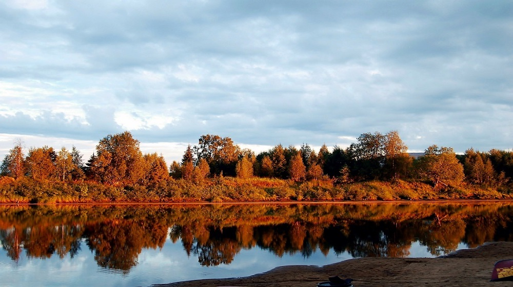 Happy-Fox-Fall-Colors-by-Canoe-red-forest-and-river