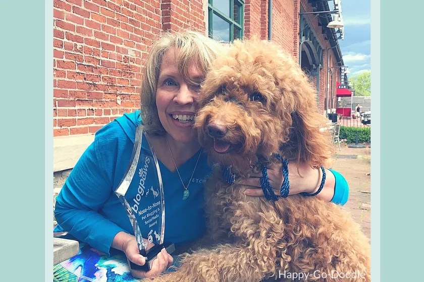 Red goldendoodle dog and her pet parent pose for a picture with their BlogPaws trophy