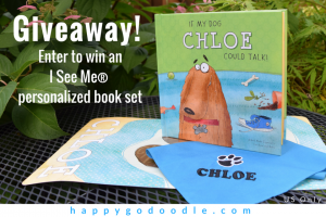 I See Me personalized gift set giveaway with image of If Dogs Could Talk Book, personalized bandana and personalized dog placemat