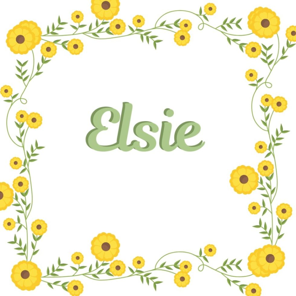 vintage floral boder and dog name elsie in old-fashioned lettering