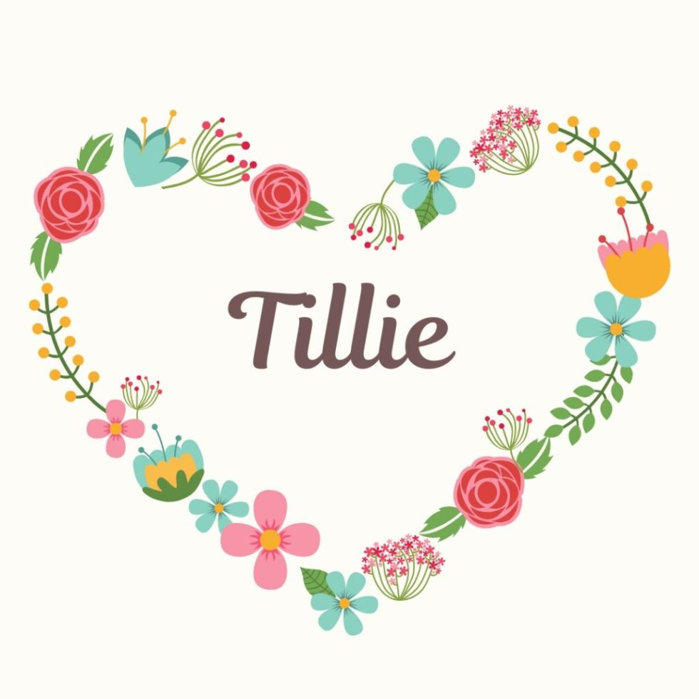 old-fashioned dog name of Tillie and floral heart