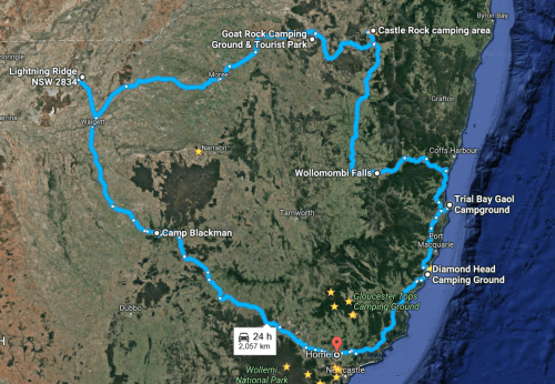 The map of the long planed route. starting in Maitland NSW, Warrumbungle's, Lightning Ridge NSW, Texas QLD, Girraween QLD, Wollomombi NSW, South West Rocks NSW and Diamond Head.