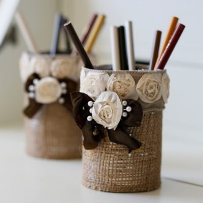 Easy to Make Burlap Pencil Holder