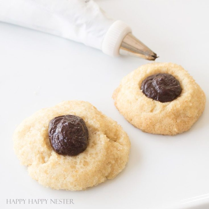 These wonderful Chocolate Thumbprint Cookies are rolled in turbinado sugar for a sweet crunchy outer layer. The chocolate ganache is a perfect pairing to the awesome little cookie. Baking | Cookie Recipe | Recipes | Desserts | Cookie | Chocolate Ganache | Cookies | Homemade Cookies | Best Cookies | Chocolate Cookie